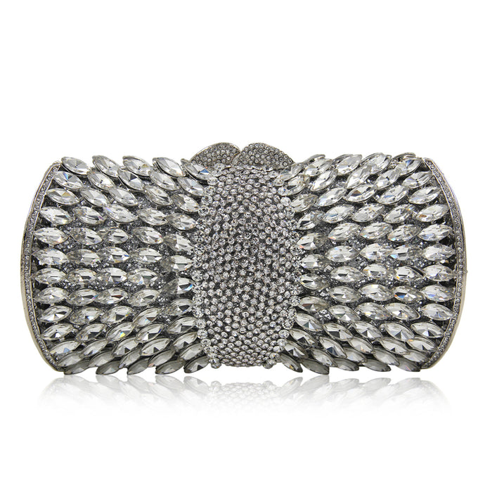 Crystal Diamante Clutch - Silver
