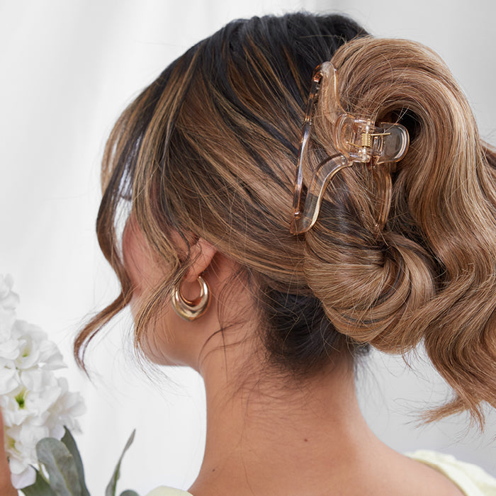 Evalina Totally Transparent Hair Claw Clip Honey