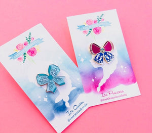 Ice Queen & Ice Princess Bow Pin Set!