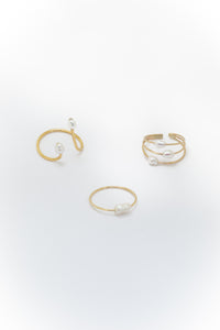 Triple multi wire Pearl ring