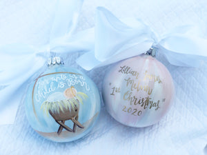 "Baby Girl Ornament (Standard size)-""Unto Us A Child Is Born"""