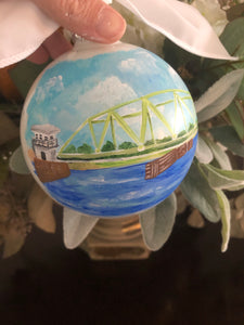 """Old"" Topsail/Surf City Beach abridge Ornament"