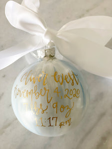 "Baby Boy Ornament (Standard size)-""Unto Us A Child Is Born"""