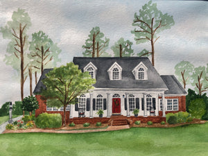 Custom Art- House/School/Church/Business Portrait Watercolor