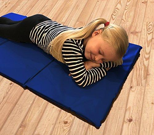 10 x Triple Folding Nursery Sleep Mats in Blue for Children