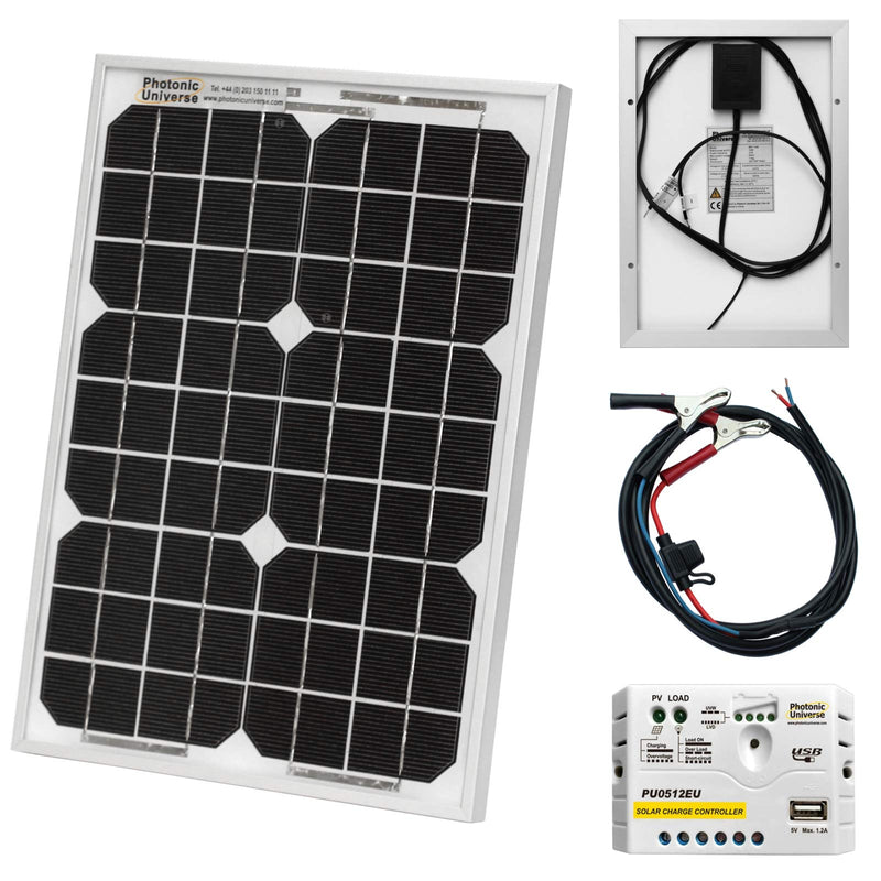 10W 12V Photonic Universe solar power kit with 5A charge