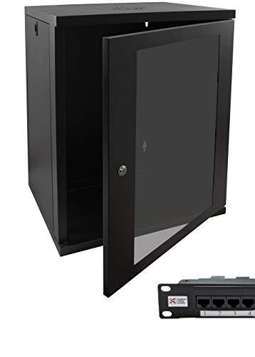 15u 19 450mm Deep Black Wall Mounted Data Cabinet & Cat6