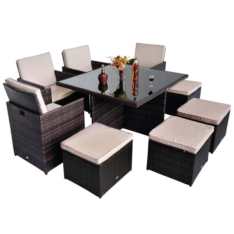 9pc Rattan Garden Furniture Aluminium Outdoor Patio Set Cube
