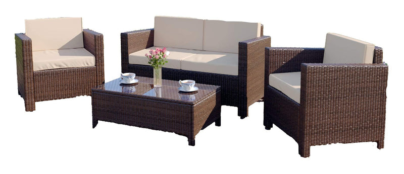 Abreo Garden Rattan Furniture Patio Set 4 Seater Outdoor