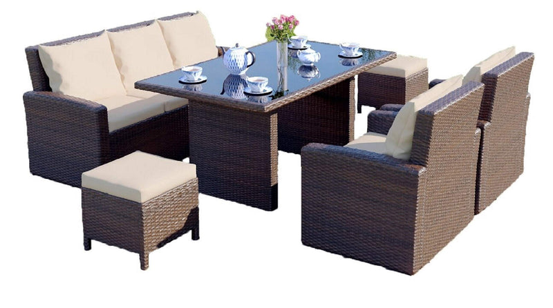 Abreo Grand Rattan Garden Furniture Sofa Chairs & Dining