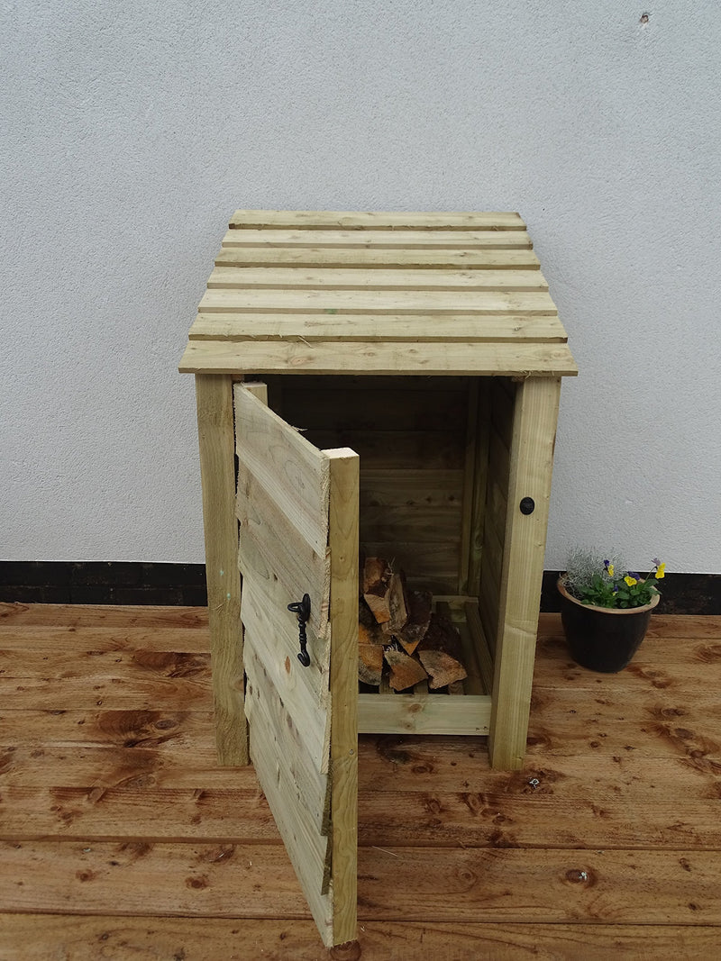 Arbor Garden Solutions Wooden Log Store With Door and