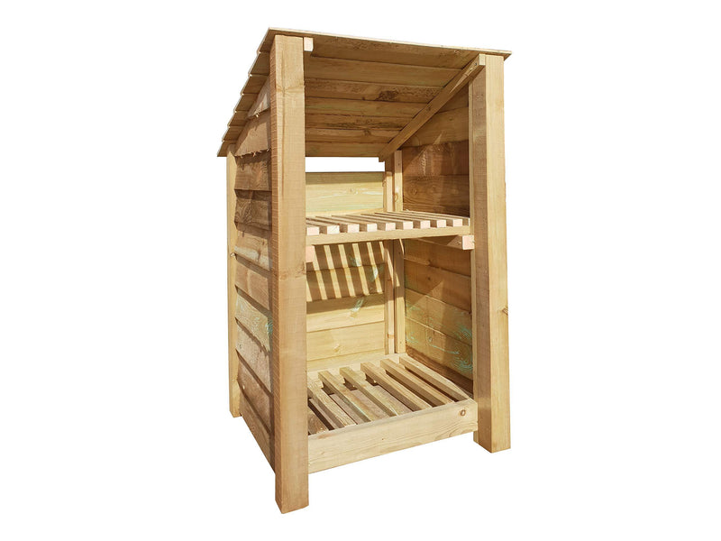 Arbor Garden Solutions Wooden Log Store With Kindling Shelf
