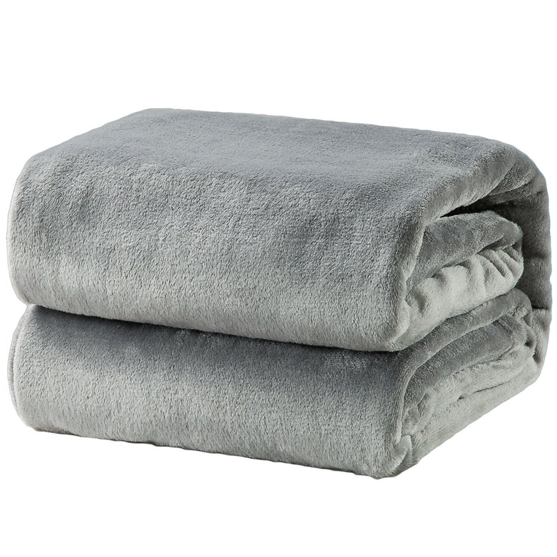 Bedsure Flannel Fleece Throw Blankets Silver Grey Travel