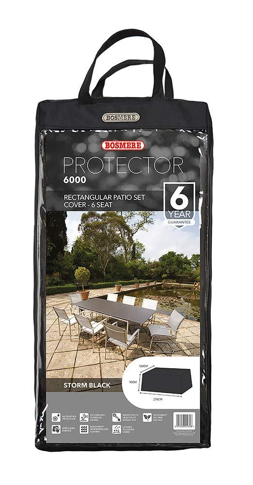 Bosmere Protector 6000 Storm Black 6 Seat Rectangular Patio