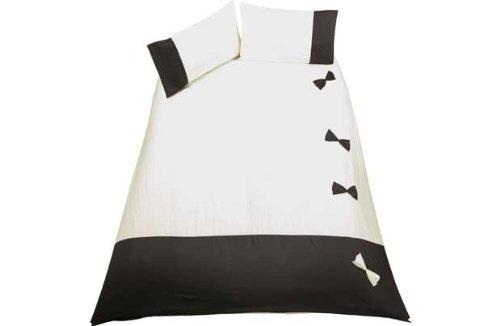 Bow Black and Cream Bedding Set - Double.