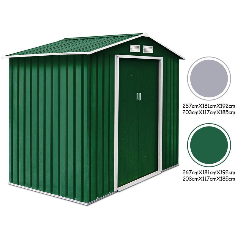 CASART. Metal Garden Shed for Tools Kit Storage Waterproof