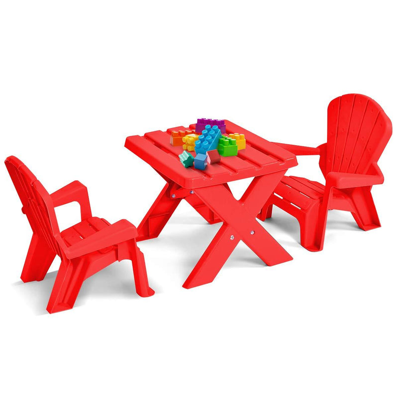 COSTWAY Kids Table Chair Set - Children Plastic Furniture