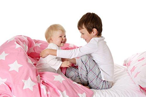 Cot Bed Duvet Cover and Pillowcase Set Pink with White Stars