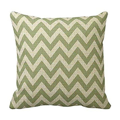 Cotton Linen Square Fashion Sage Green Chevron Zigzag