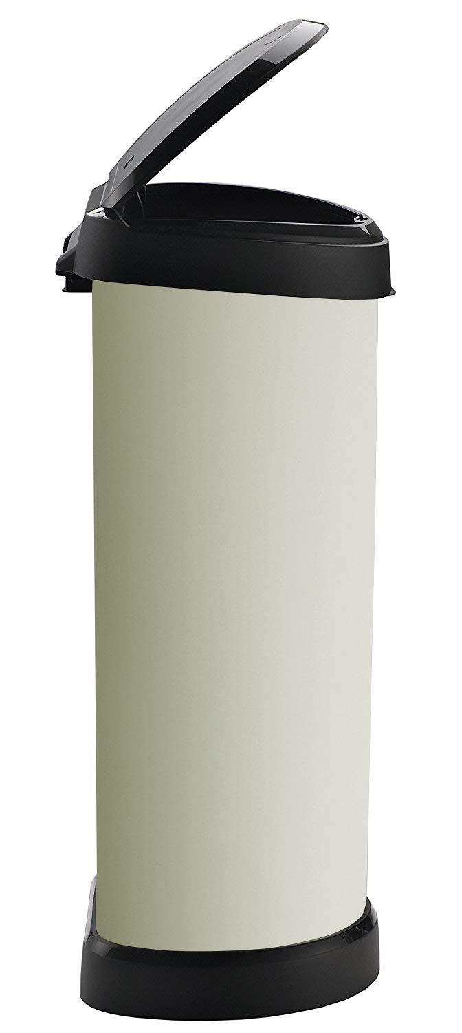 Curver Metal Effect Plastic One Touch Deco Bin Ivory 40