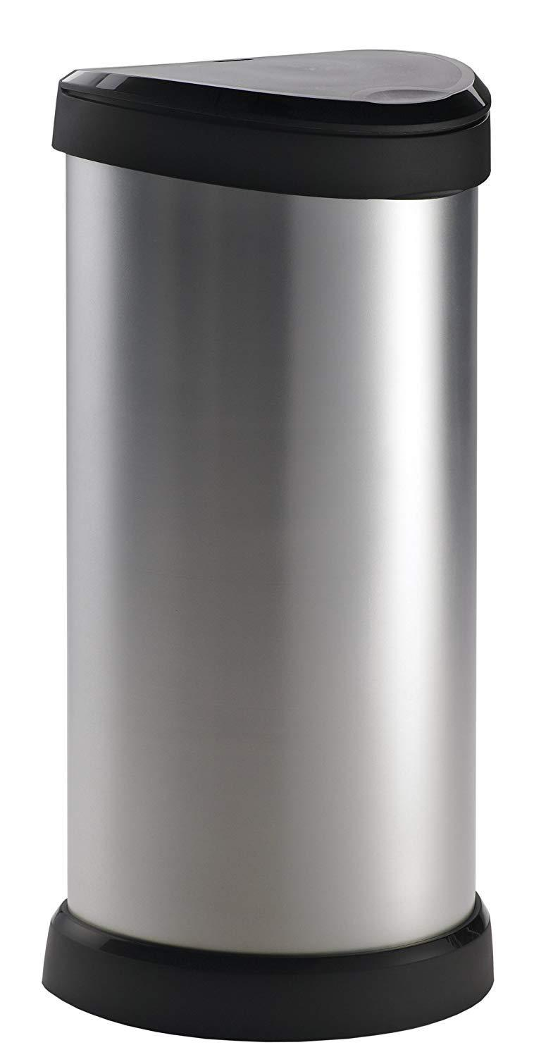 Curver Metal Effect Plastic One Touch Deco Bin Silver 40