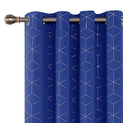 Deconovo Blue Curtains Diamond Foil Printed Curtains