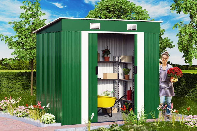 Deuba Garden Metal Tool Shed Size and Colour Choice
