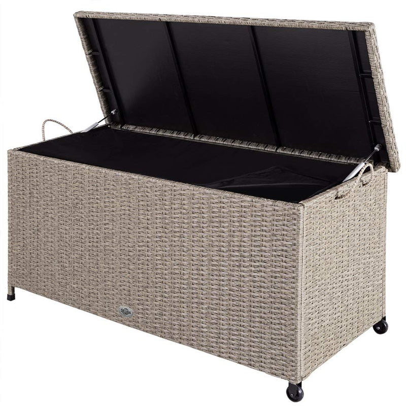 Deuba Garden Storage Box Poly Rattan Outdoor Indoor Chest