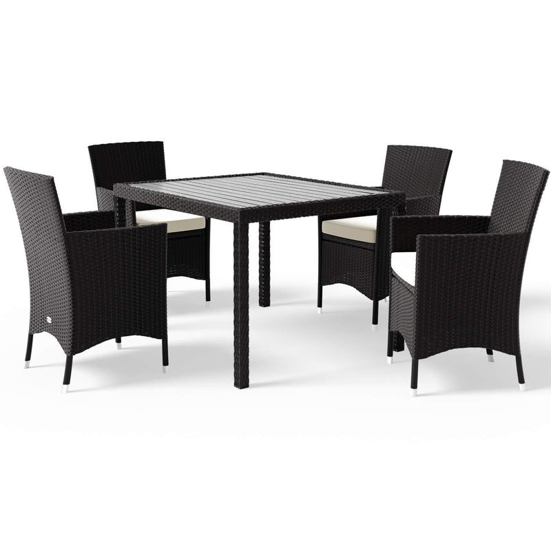 Deuba Poly Rattan Garden Dining Table Chairs Set Furniture