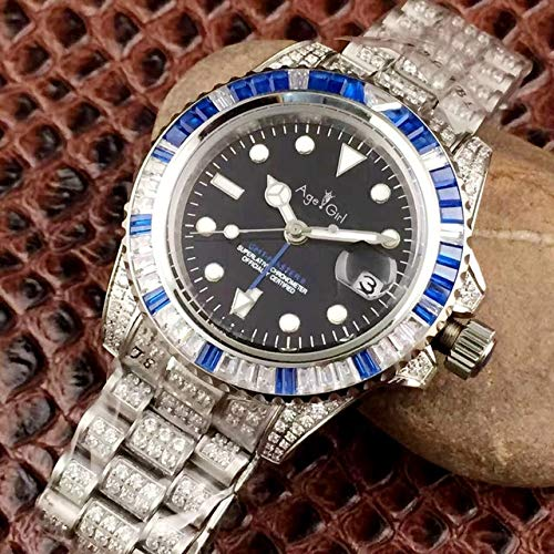DMZZYGJR Men Silver Red Blue Bezel Full Diamonds Watch