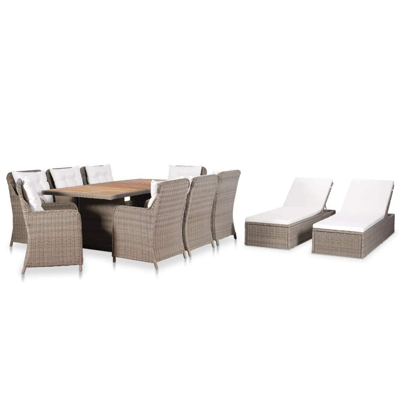 Festnight- Poly Rattan Garden Furniture Set with 8 Rattan
