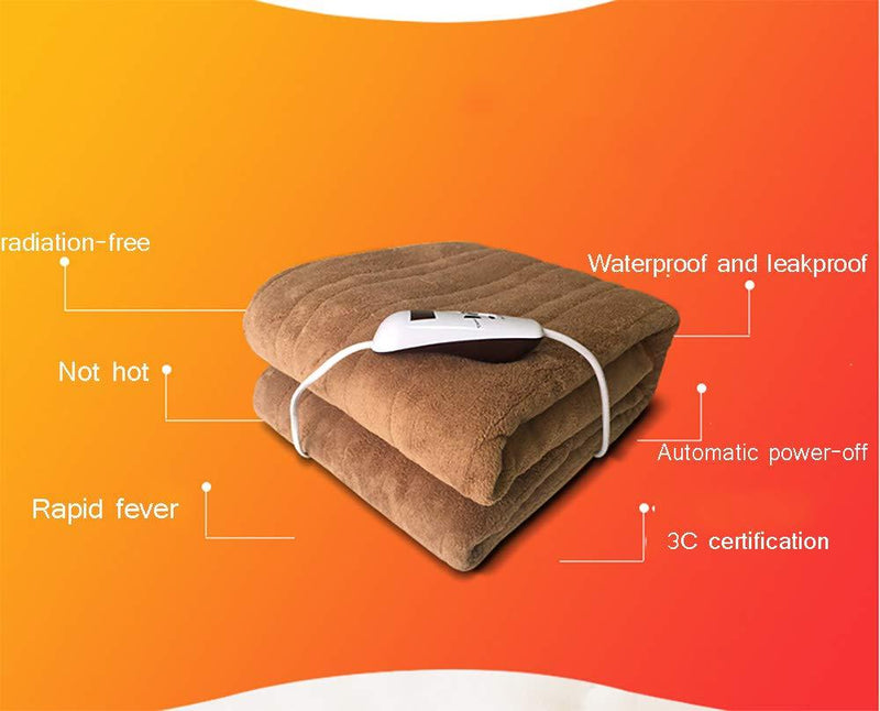 Flannel Electric Blanket with Automatic Switch-Off Thermal