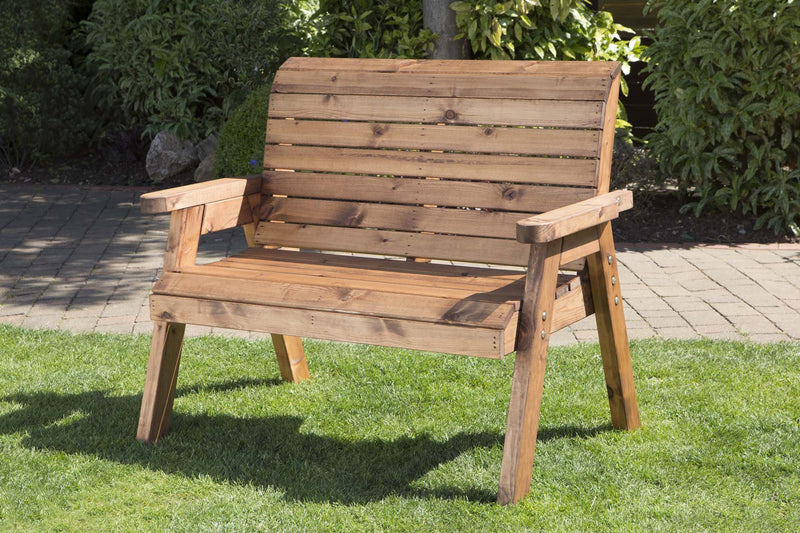 Garden Furniture 2 Seater High Back Bench Wooden Wood