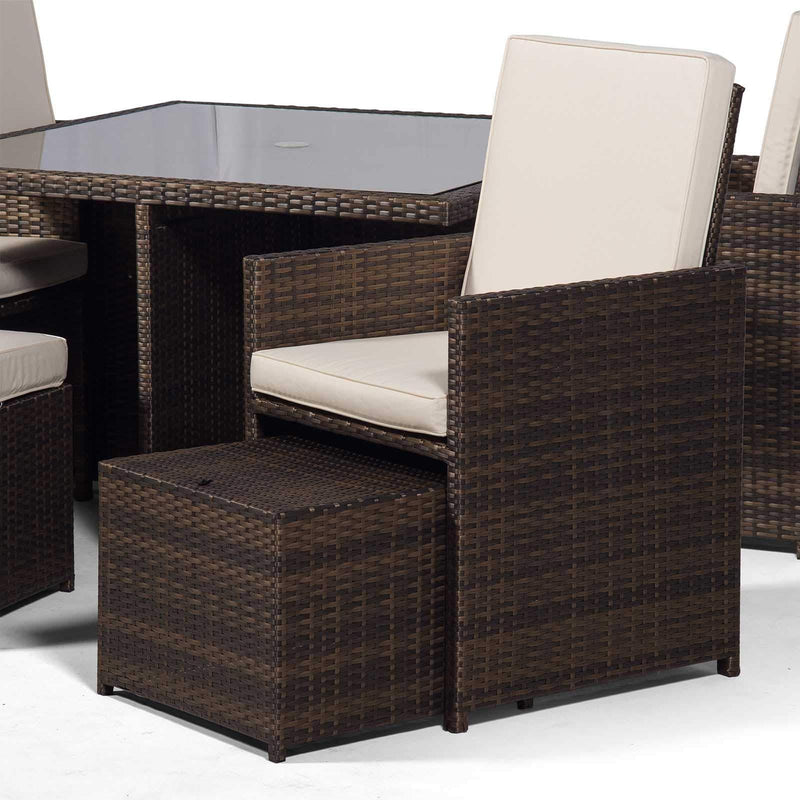 Giardino Rattan Cube Dining Set | Square 4 Seater Brown