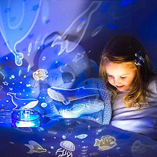 Girls Night Light 4 in 1 Baby Projector Lamp with Star Ocean