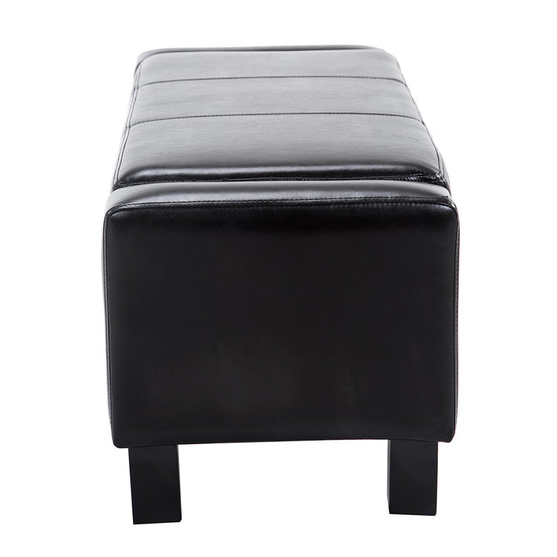 HOMCOM Storage Bench PU Seat Wooden Rectangle Lift Ottoman