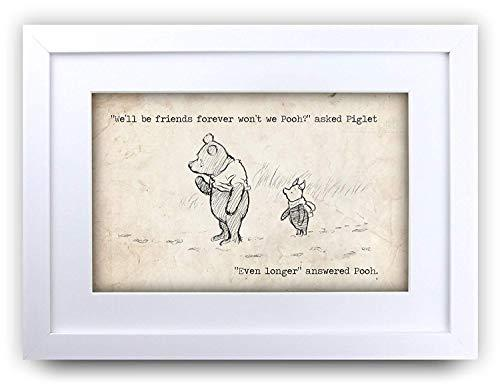 HWC Trading FR Winnie the Pooh Friends Forever A4 Framed