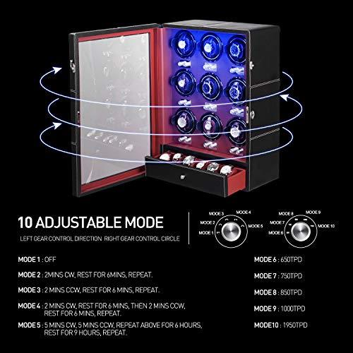 JQUEEN 9 Automatic Watch Winder with Six Extra