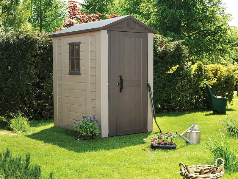 Keter Factor Outdoor Plastic Garden Storage Shed Beige 4 x 6