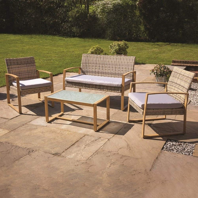 Kingfisher 4pc Garden Patio Cream/Grey Rattan Sofa Set