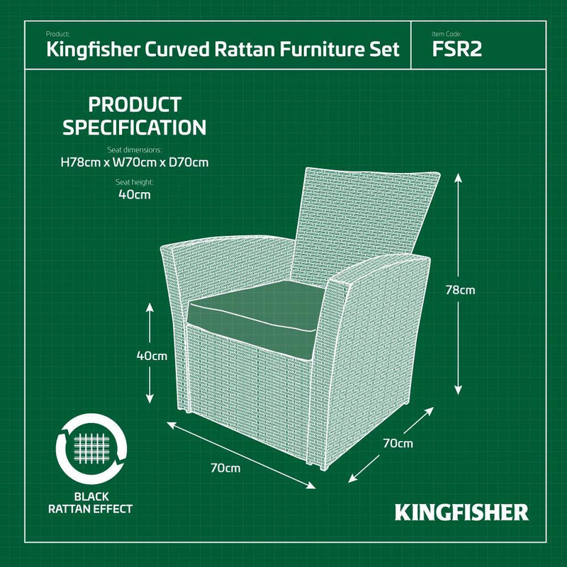 Kingfisher FSR2 Black 4 Piece Curved Rattan Effect Outdoor