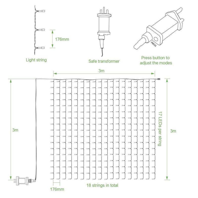LE 306 LED Curtain Lights Mains Powered 3m x 3m Warm White