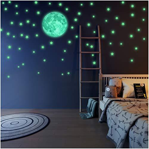 LIDERSTAR Glow in The Dark Stars and Moon Wall Stickers