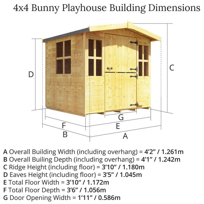 Mad Dash 4x4 BillyOh Bunny Children Wooden Playhouse Outdoor