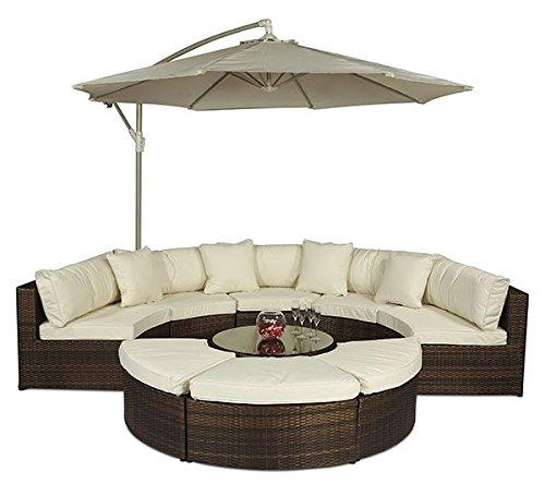 Monaco Luxury Large Brown Rattan Garden Sofa Set | 10 Piece