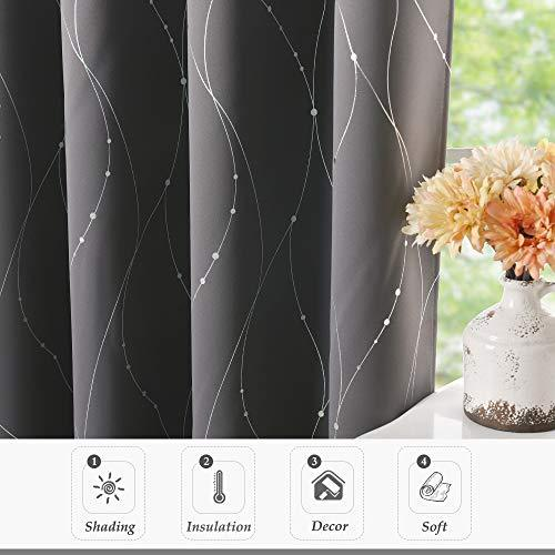 NICETOWN Grey Foil Printed Curtains Eyelet - Wave Line with