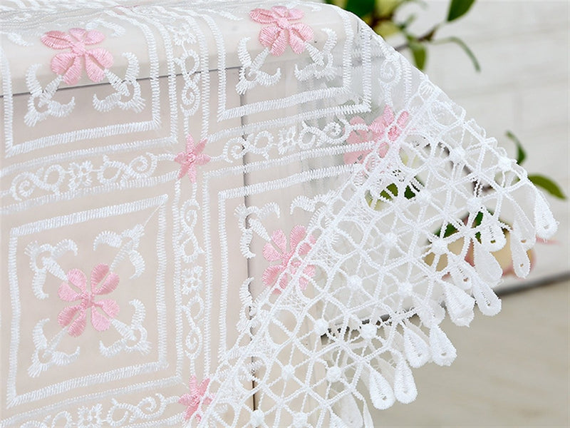 Ommda Vintage Transparent Embroidery Flower Table Cloth Lace