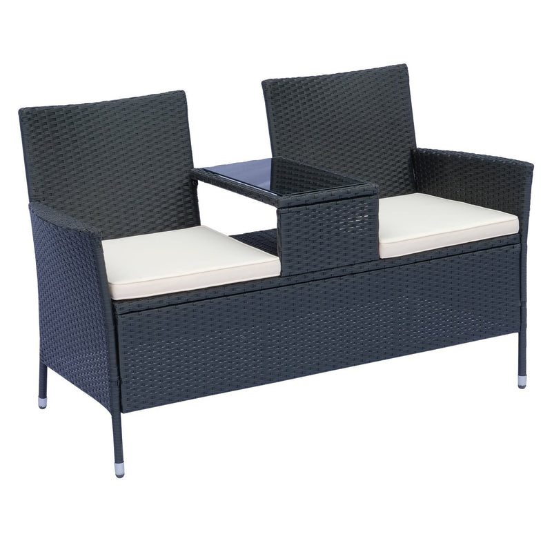Outsunny 2 Seater Rattan Campanion Chair Wicker Loveseat