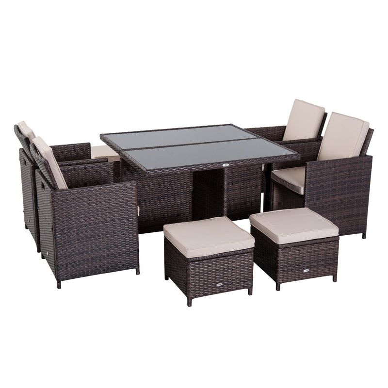 Outsunny 9 Pieces Rattan Dining Set Garden Furniture Cushion