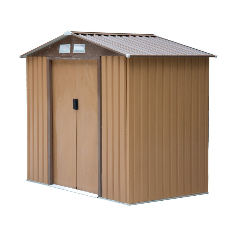 Outsunny Lockable Garden Shed Large Patio Roofed Tool Metal
